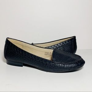 Vintage Kendal Black Faux Alligator Print Loafers
